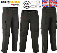 Motorbike Motorcycle Waterproof Cordura Textile Trousers / Pants Armours BLACK