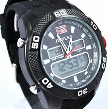 Henley Mens BIG Black Ana-Digi Multi Function Chronograph Watch Silicone Strap