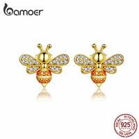BAMOER Women Gold Stud Earrings S925 Sterling Silver AAA Zircon The bee Jewelry