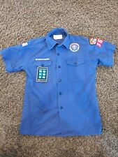Official Boy Scouts Of America Youth Large Blue Uniform Shirt with patches
