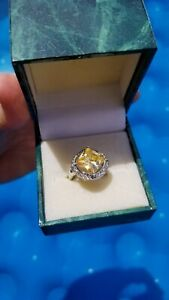 Suzanne Somers Canary Princess with cz halo Ring 925 Sterling Silver size 5 box