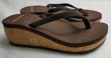 Sanuk 5 Women SWS2917 Brown Thong Wedge Cork Summer Sandal Flip Flops