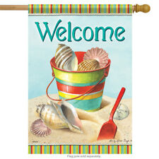 "By the Sea Welcome House Flag Beach Summer Bucket Shell Sand Nautical 28""x40"""