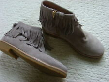 KATE SPADE Womens 7.5 gray/tan SUEDE leather FRINGE flat ANKLE BOOTS booties