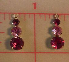 2 Swarovski Crystal Pendants Red Pink Gold Sparkly