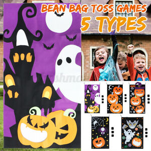 Halloween Party Candy Corn Bean Bag Toss Throw Game Hanging Pumpkin Banner To