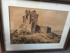 Vintage original Irish artist CHRISTOPHER DORAN Sepia PAINTING Dungaire Castle