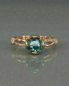 1Ct Round Green Peacock Sapphire Engagement Ring 14K Rose Gold Finish