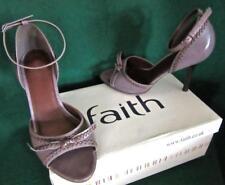 FAITH Uk 6 /39 Heather Grey Mauve DACCA Stitched Peeptoe Comfortable Heels Shoes