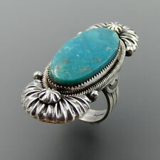 HANDCRAFTED STERLING SILVER HUGE OVAL TURQUOISE RIBBED ELONGATED RING, 9.5