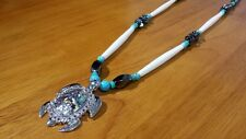 Hand Beaded Abalone Turtle Southwestern Necklace
