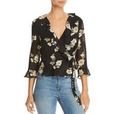 Bardot Womens Catalina Black Floral Cropped Blouse Wrap Top Shirt S 6 BHFO 8221
