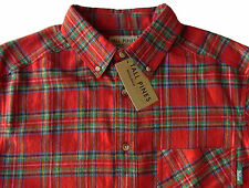 Men's TALL PINES WOOLRICH Red Colors Plaid Flannel Cotton Shirt XXL 2XL NWT NEW