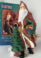 """Traditions Santa Claus Porcelain Collectible Christmas Hand Painted 8"""" With Box"""
