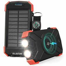 Blavor Solar Power Bank Cargador portátil, Qi 10,000mAh Paquete de Batería Externo
