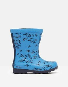 Joules Baby Boys  Tall Printed Wellies - Blue Ants