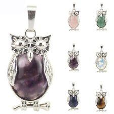 6 pcs 1 Lot Amethyst Agate Tiger's Eye Moonstone Silver Owl Necklace Pendants