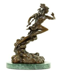 Götterstatue Hermes - Merkur, signiert Giambologna - Mythologische Skulptur