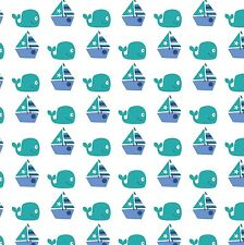 Fabric Sea Water Baby Friends Whales Saling on Blue Cotton By The 1/4 yard BIN