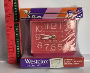 Vintage SEALED Westclox PINK SIZZLER Dialite Electric Alarm Clock RETRO
