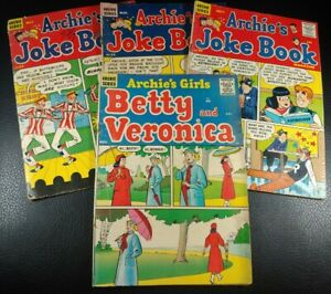 Lot of 4 Silver Age Archie Comics Joke Book No.30,33,34 Archie's Girls No.39