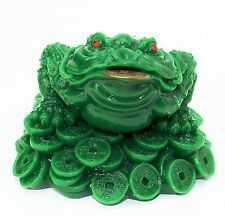 "Feng Shui 3"" Tall Green Money Frog Coin Toad Chan Chu Chinese Charm US Seller"