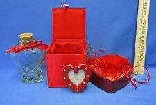 Heart Shape Clear Glass Bottle with Cork Top Red Trinket Lined Satin Box Mixed 4