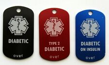 DIABETES/DIABETIC Custom Engraved Metal ID Tag Necklace - Choose from 11 Colors