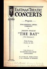 Die Fledermaus October 22 1943 Eastman Theatre Concerts Program The Bat