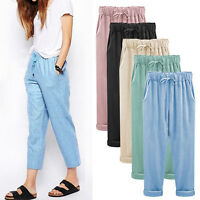 Plus Size Women's Cotton Linen High Waist Baggy Loose Casual Harem Cropped Pants