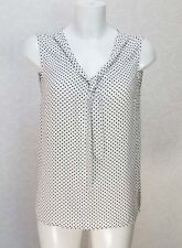 ATMOSPHERE black white spotted Polka Dot Scarf tie V neck blouse top tunic 10