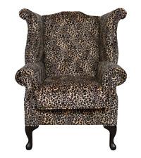 Chesterfield Saxon Queen Anne High Back Wing Chair Leopard Animal Print Velvet