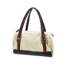 Kate Spade Handbag Logo Beige Black Woman Authentic Used Q066