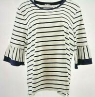 Isaac Mizrahi Live! Women's Top Sz M Striped Border Ruffle Sleeves Black