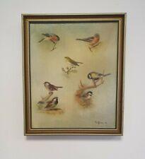 Paul Beecham 1980 Jardín Pájaro Pintura al Óleo En Marco Dorado 29 X 34 cm 1I9P3.