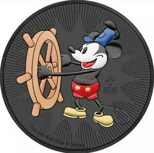 2017 1 Oz Silver Nieu STEAMBOAT WILLIE MICKEY MOUSE Ruthenium Coin