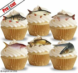 PRE-CUT FISH FISHING EDIBLE WAFER PAPER CUP CAKE TOPPERS PARTY DECORATIONS