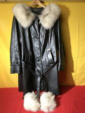 VINTAGE 1960's WOMENS BLACK LEATHER FUR COLLARED COAT 'THE PERISIAN' RACK
