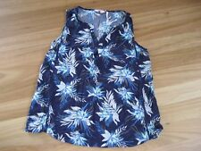 LADIES CUTE BLUE FLORAL SLEEVELESS VISCOSE LACE TOP BY MILLERS - SIZE 14 CHEAP