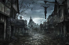 Framed Print - Haunted Eerie Ghost Town (Picture Poster Gothic Horror Art)