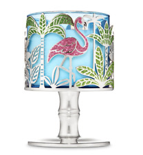 New Bath & Body Works PINK FLAMINGO Tropical Silver Pedestal Candle Holder
