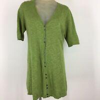 Eileen fisher cardigan sweater green linen tunic short sleeve size Petite large