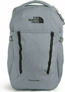 The North Face Pivoter Mid Grey Dark Heather TNF Black Backpack