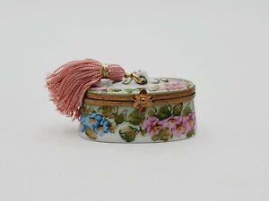 PEINT MAIN Limoges France Porcelain Floral Lidded Trinket Box w/ Tassel