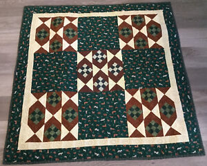 Patchwork Crib Quilt, Nine Patch, Small Squares, Animals Prints, Green, Beige