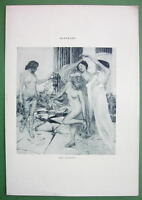 NUDE Four Seasons Girls - VICTORIAN Lichtdruck Antique  Print