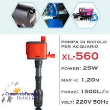POMPA IMMERSIONE PER  ACQUARIO RICICLO PULIZIA 1500 L/H  MOD xl-560 25 W ASPIRAT