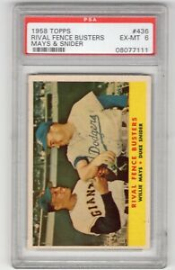 1958 TOPPS CARD #436 WILLIE MAYS DUKE SNIDER EX-MT PSA 6 RIVAL FENCE BUSTERS