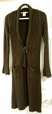 MAX STUDIO LONG BROWN MOCHA CABLE KNIT MAXI CARDIGAN SWEATER COAT DUSTER SIZE S