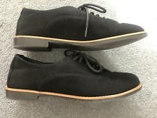 Ladies Smart Casual Black Suede Flat Shoes Size 5 New Look VGC